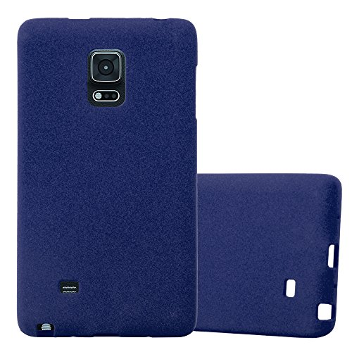 Cadorabo Hülle für Samsung Galaxy Note Edge - Hülle in Frost DUNKEL BLAU – Handyhülle aus TPU Silikon im matten Frosted Design - Silikonhülle Schutzhülle Ultra Slim Soft Back Cover Case Bumper