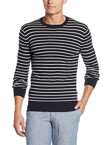 Superdry Herren Top Orange Label Stripe Crew Blau (Eclipse Navy/ice Marl)