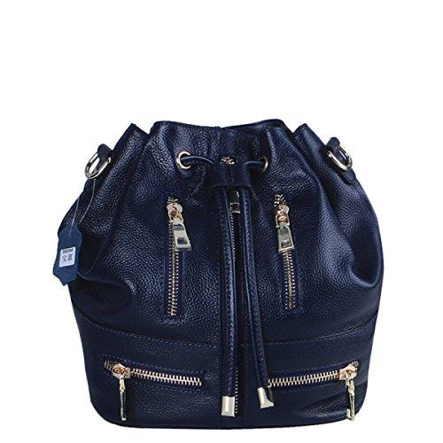 GSHGA Mode Nouveau Sac à Double Usage Seau Paquet Diagonale En Cuir Véritable Sacs à Main Sac à Bandoulière Totes,Blue