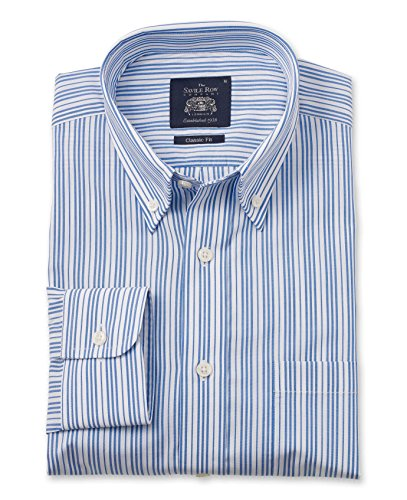 Savile Row Men's Blue White Multi Stripe Casual Fit Shirt Blue White