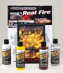 Peinture aérographe - Auto Air Colors Richard Markham True Fire Set - 4x120ml + DVD + Fire Stencils - #4964-00