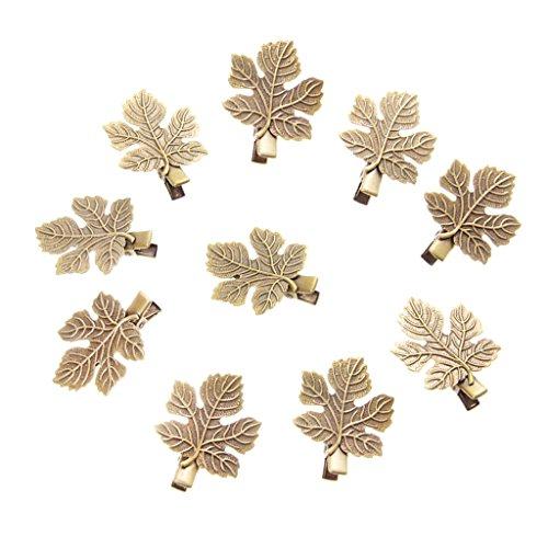 10pcs Pinces Crocodile à Cheveux Epingles / Barrettes Vintages pour Fille ( Bronze Antique ) - Feuille Bronze , Feuille