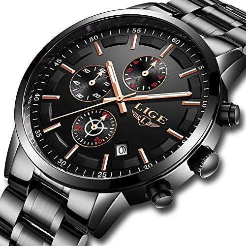 LIGE Herren Uhren Schwarz Edelstahl Wasserdicht Männer Armbanduhr Elegant Analog Quarz Herrenuhr Sport Militär Chronograph Kalender