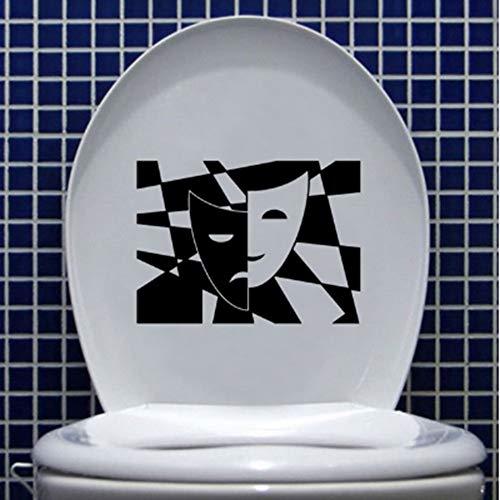 YSFU Stickers muraux Theatrical Art Rire Et Pleurant Masques Vinyle Toilette Autocollant Mural Autocollant Étanche Salle De Bains Home Decor Papier Peint Murale