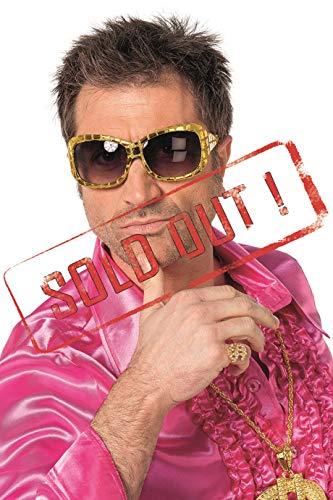 Disco-Brille mit Pailetten Glänzend 80er Jahre 80s Spaß-Brille Scherz-Artikel Hochwertiges Kostüm-Zubehör Party-Accessoire Karneval Fasching Fastnacht Mottopartys Einheitsgröße Gold (Party Scherzartikel Kostüm)