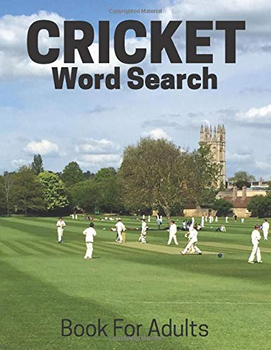Cricket Word Search Book For Adults: Large Print Cricket Fans gift Puzzle Book With Solutions