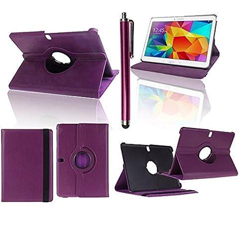 VCOMP® Etui Coque Housse avec support Et Rotation 360° en cuir PU pour Samsung Galaxy Tab Pro 10.1 SM-T520/ Tab Pro 10.1 LTE 4G SM-T525 + stylet - VIOLET