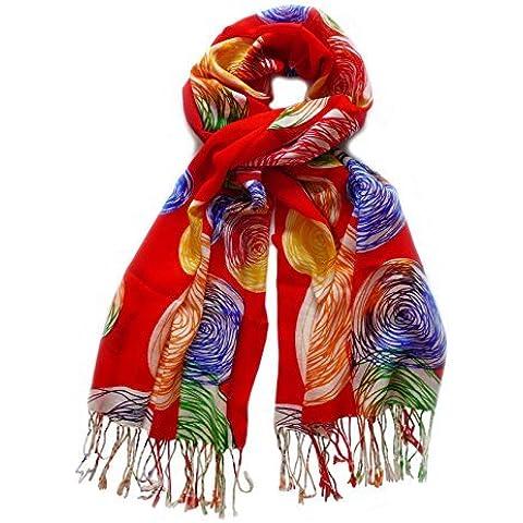 Sciarpa in 100% lana, 200 cm x 70 cm, colore: rosso, Verde, Arancione, Giallo, colore: beige, ecc.