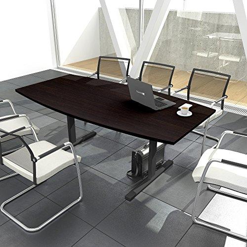 EASY Konferenztisch Bootsform 200x100 cm Wenge Besprechungstisch Tisch, Gestellfarbe:Anthrazit