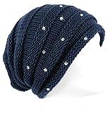 dy_mode Damen Strickmütze mit Glitzer Strick Beanie Mütze - A304 (A304-Tiefblau)
