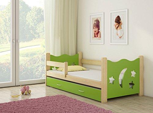 Clamaro 'Sternenhimmel' Kinderbett Komplett Set 160 x 80 cm inkl. Matratze, Lattenrost und Bettkasten Unterbett Schublade auf Rollen, extra Rausfallschutz Seitenteil (verstellbar), Design: Grün/Holz