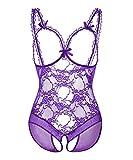 KELITCH Dessous Erotik Violet Spitze Damen Bodysuit Brust Offen Sexy Unterwäsche Unten Offen Babydoll Übergröße - Größe XXXXL
