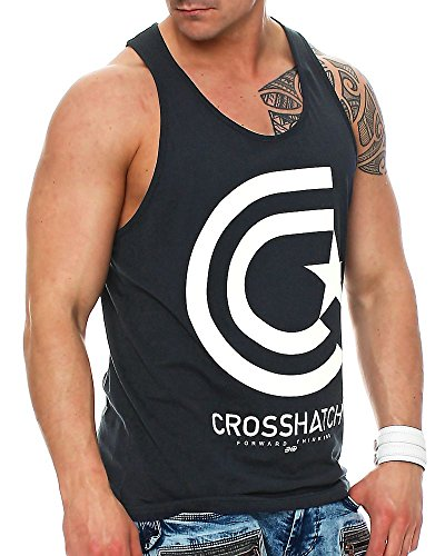 Crosshatch Herren Tank Top Kimmel mit Frontprint Total Eclipse