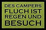 FUSSMATTE Schmutzmatte DES CAMPERS FLUCH Lustig Camping Wohnwagen Viele Farben Grün