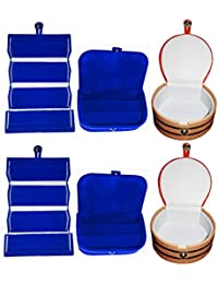 Afrose Combo 2 Pc Blue Earring Folder 2 Blue Ear Ring Box And 2 Pc Bangle Box Jewelry Vanity Case