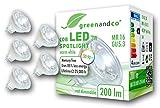 5x greenandco® CRI 90+ LED Spot ersetzt 20 Watt MR16 GU5.3 Halogenstrahler, 3W 200 Lumen 2700K warmweiß COB LED Strahler 38° 12V AC/DC Glas mit Schutzglas, nicht dimmbar, 2 Jahre Garantie