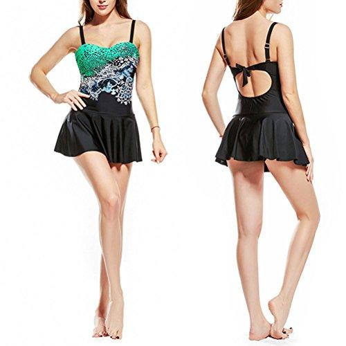Zhuhaitf Donna Shaping Body Swim Dresses Halter Flower Printing Costume da bagno Swimwear Plus-Size Green