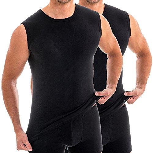 HERMKO 16040 2er Pack Herren Muskelshirts mit Rundhals, Unterhemd mit Modal, Farbe:schwarz, Größe:D 7 = EU XL