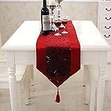 Luxus Silber Blume gestickten rot Samt Tischläufer