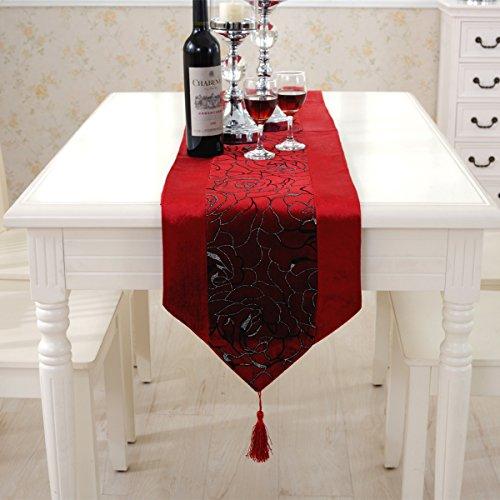 Luxus Silber Blume gestickten rot Samt Tischläufer Wandteppich 33cm x 180cm (Wandteppiche Wandteppiche Rot)