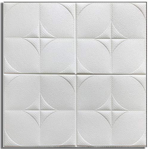 Springdoit 3D schaum viereckigen muster wandaufkleber tapete, 60 * 60 cm geprägte mauerwerk küche dekoration (weiß)