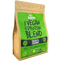 BodyMe Mélange Poudre Proteine Vegan Bio | Cru Cacao Coco | 1kg | NON SUCRE | Faible Glucide | Sans Gluten | 3 Proteines Vegetales | 21g Protéine Vegan Biologique Complète | Acides Aminés Essentiel