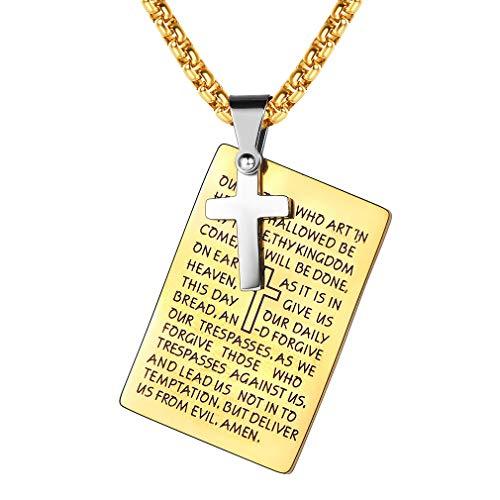 FaithHeart Halskette Kette Herren Anhänger Dog Tag Mit Gravur Heiliges Kapitel Bible Buch Erkennungsmarke Geschenk für Gebete Gold