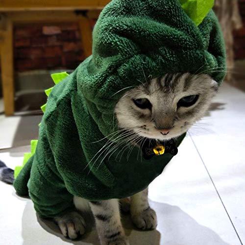 WJDM Winter-Katzen-Kleidung, Dinosaurier-Design, für kleine Katzen, lustiges Kapuzen-Kostüm, Haustier-Kätzchen, Warmer Mantel