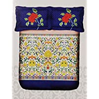 Portico Super King Cadence Bedsheet with 2 Pillow Covers - 8044351, Multi-Colour