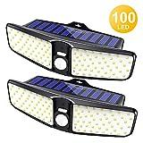 Cocoda Solarlampen für Außen, 100 LEDs Solarlampen mit Bewegungsmelder, 220° Weitwinkel IP65 Wasserdichte Solarleuchte Garten, Solarbetriebene Sicherheitswandleuchte für Hof Balkon Terrasse (2 Stück)