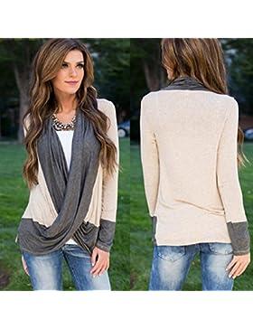 OverDose Atractivo de las mujeres irregulares de empalme de algodón de manga larga con cuello en V camiseta floja...
