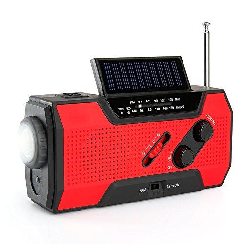 8 in 1 Solar Radio von Fnova, Kurbelradio Kofferradio mit 1W LED Dynamo Taschenlampe & 1W Lesenlampe,verwendbar als 2000 mAh Powerbank, SOS Alarm mit Rotlicht, 4 Modi Aufladen, IPX3 wasserfest, für Wandern,Camping,Ourdoor,Notfall