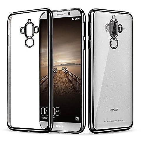 Huawei Mate 9 hülle, Mture Tasten Schutzhülle Crystal Clear Case Cover Bumper Anti-Scratch Plating TPU Silikon Durchsichtig Handyhülle für Huawei Mate 9 (Schwarz)