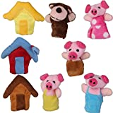 Mttheaw Set of 8pcs Plush Finger Puppets Story the 3 Little Pigs Puppet Theatres