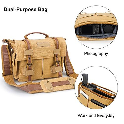 Retro Kameratasche für Fotografie, ESDDI Herren Umhängetasche Schultertasche Kuriertasche Messenger Bag aus Canvas und Leder für Arbeit Schule Reise Sport, Dual-Use-Paket (Über Klappe Messenger)