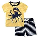 YAANCUN Niños Ocio 1-10 Años Ropa Chicos Manga Corta Escote Redondo Camisetas Y Pantalones Cortos(1 Conjunto) Amarillo