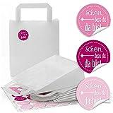 24 weiße Papiertüten Geschenktüte Henkel-Tüten Boden 18 x 8 x 22 cm kleine Papiertaschen + 24 runde Aufkleber 4 cm SCHÖN DASS DU DA BIST Rosa Pink Rose Verpackung Geschenke Mitgebsel