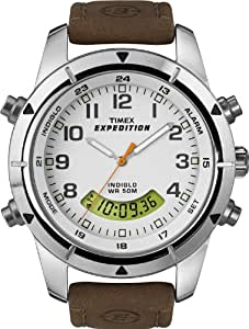 Timex Expedition Fullsize Quartz Watch with White Dial Analogue - Digital Display and Brown Leather Strap T49828SU