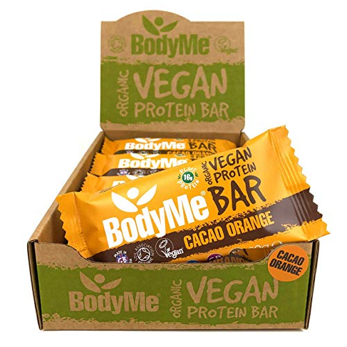 BodyMe Barrette Proteiche Vegane Biologiche Crudo Cacao Arancia 12 x 60g Con 3 Proteines Vegetali