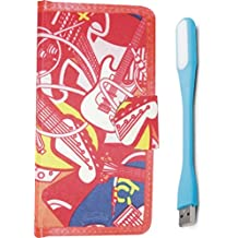 BKDT Marketing Leather Touch Feel Flip Cover for Micromax Canvas 6 Q485 - Music Theme Design with USB LED Light