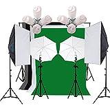 Etime Fotostudio Set 2 x 4in1 Softbox 50x70 cm Studioleuchte Hintergrundsystem 4 Hintergrundstoff Studioset 2 Durchlichtschirm Studioleuchte Lampenstativ