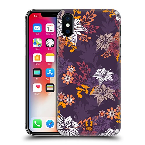 Head Case Designs Oro Grano Ornamenti Botanici Cover Retro Rigida per Apple iPhone X Porpora Intenso