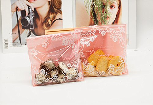Syndecho 100pcs Rose Circle OPP Adhesive Bags Cello Bags Candy Bags DIY Soap Jewelry Gift Wrapping 14x14+3cm