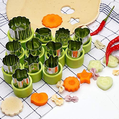 FOCCTS 12 Stück Gemüseschneider Formen Set, Mini Torte, Obst und Keks Schimmel, Ausstecher Dekoratives Essen, für Kinder Backen und Nahrungsergänzungsmittel Werkzeuge Zubehör Handwerk für Küche, Grün