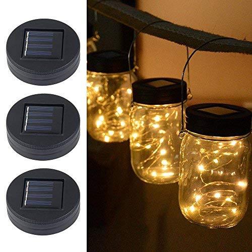 Aolv, coperchio a energia solare con pannello incorporato e 20 lucine magiche a LED da inserire all\'interno di giare in vetro, ideale per decorazioni da giardino, confezione da 3pezzi Warm White