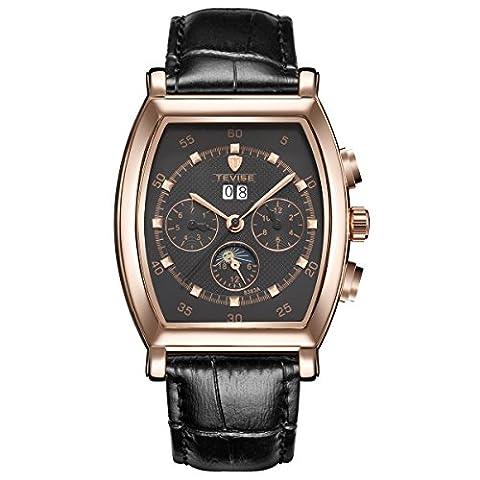 TEVISE Hommes Or Rose Case Cadran Noir Montre Mécanique AutomatiqueMale Wristwatch Casual Horloge avec bracelet en