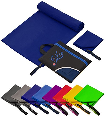 Fit-Flip Serviette microfibre / 1 pièce 200x100cm + 1 sac , bleu foncé