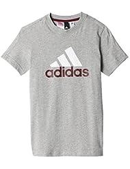 Adidas Performance Yb Logo Gris T-shirts Manches Courtes Enfant Multisports