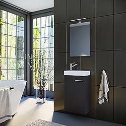 Planetmöbel Badmöbel Set Gäste WC Gäste Bad Waschtischunterschrank Spiegel mit LED Leuchte (Schwarz)