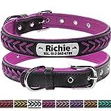 Vcalabashor Hundehalsband mit Namen und Telefonnummer,Hundehalsband Anh?nger mit Gravur,Hundehalsband Leder,L 36-46cm,Lila